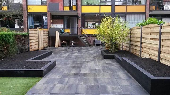 Tuin Met Betontegels.Tuin Aanlegging Met 60x60 Betontegels Bowa Bestratingen